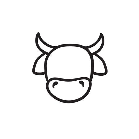암소 머리 벡터 스케치 아이콘 배경에 고립. 손으로 그린 암소 머리 아이콘입니다. infographic, 웹 사이트 또는 응용 프로그램에 대 한 암소 머리 스케치