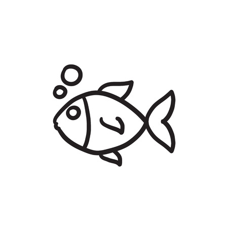 Little fish under water vector sketch icon isolated on background. Hand drawn Little fish under water icon. Little fish under water sketch icon for infographic, website or app.