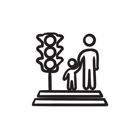 Parent and child crossing street vector sketch icon isolated on background. Hand drawn Parent and child crossing street icon. Parent and child crossing street icon for infographic, website or app. Çizim
