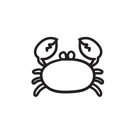 crawfish: Crab vector sketch icon isolated on background. Hand drawn Crab icon. Crab sketch icon for infographic, website or app. Illustration