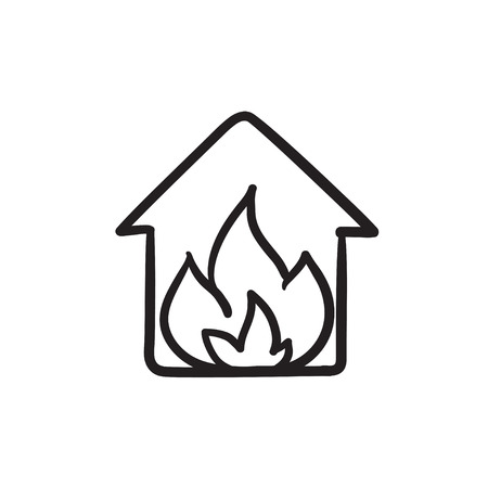 House on fire vector sketch icon isolated on background. Hand drawn House on fire icon. House on fire sketch icon for infographic, website or app. Illustration