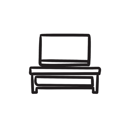 lcd display: Flat screen tv on modern tv stand vector sketch icon isolated on background. Hand drawn Flat screen tv on tv stand icon.