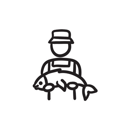 Fisherman with big fish vector sketch icon isolated on background. Hand drawn Fisherman with big fish icon. Fisherman with big fish sketch icon for infographic, website or app. Illustration