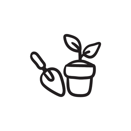 Garden trowel and pot with plant vector sketch icon isolated on background. Hand drawn Garden trowel and pot with plant icon. Trowel and pot with plant sketch icon for infographic, website or app.