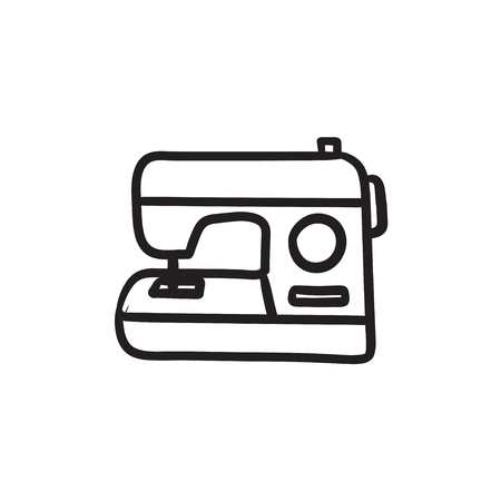 Sewing-machine vector sketch icon isolated on background. Hand drawn Sewing-machine icon. Sewing-machine sketch icon for infographic, website or app.  イラスト・ベクター素材