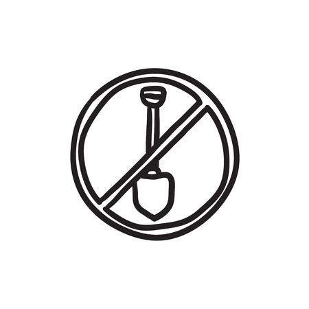 Shovel forbidden sign vector sketch icon isolated on background. Hand drawn Shovel forbidden sign icon. Shovel forbidden sign sketch icon for infographic, website or app.