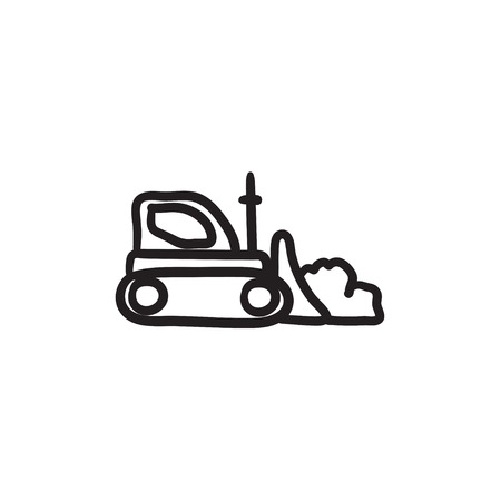 Bulldozer vector sketch icon isolated on background. Hand drawn Bulldozer icon. Bulldozer sketch icon for infographic, website or app. Illustration
