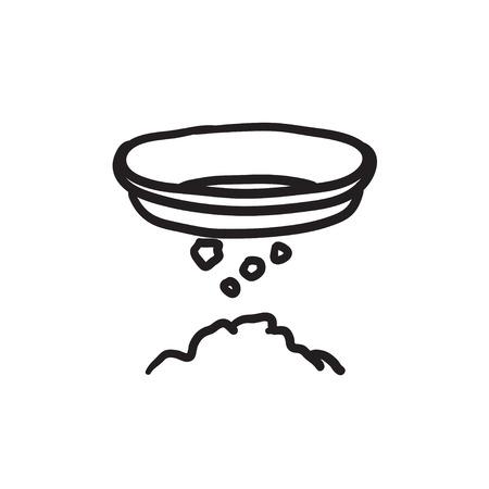 마이닝 벡터 스케치 아이콘 배경에 고립. 손으로 그려진 된 마이닝 아이콘입니다. 인포 그래픽, 웹 사이트 또는 앱의 마이닝 스케치 아이콘. 일러스트