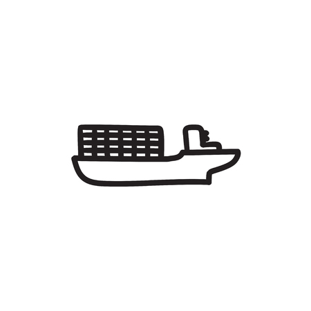 Cargo container ship vector sketch icon isolated on background. Hand drawn Cargo container ship icon. Cargo container ship sketch icon for infographic, website or app. Illustration