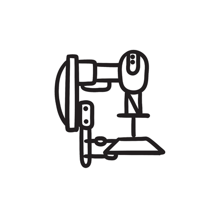 automated: Industrial automated robot vector sketch icon isolated on background. Hand drawn Industrial automated robot icon. Industrial automated robot sketch icon for infographic, website or app.