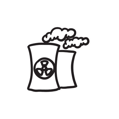 vector nuclear: Nuclear power plant vector sketch icon isolated on background. Hand drawn Nuclear power plant icon. Nuclear power plant sketch icon for infographic, website or app.