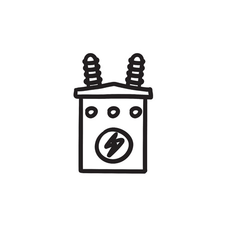 electric grid: High voltage transformer vector sketch icon isolated on background. Hand drawn High voltage transformer icon. High voltage transformer sketch icon for infographic, website or app. Illustration