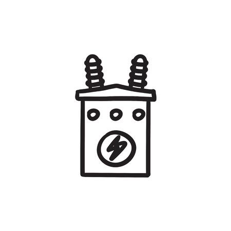 Elektrischer Transformator-Symbol. Schwarzer Hintergrund Mit Weißen ...