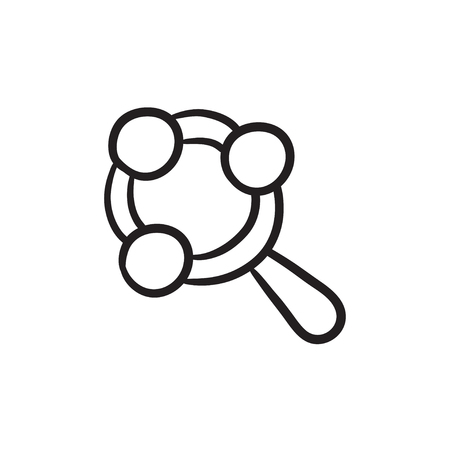 sonaja: Baby rattle vector sketch icon isolated on background. Hand drawn Baby rattle icon. Baby rattle sketch icon for infographic, website or app.