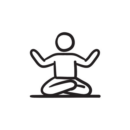 man meditating: A man meditating in lotus pose vector sketch icon isolated on background. Hand drawn man meditating in lotus pose icon. Man meditating in lotus pose sketch icon for infographic, website or app. Illustration