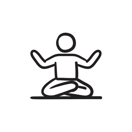 elasticidad: Un hombre meditando en posición de loto dibujo icono del vector aislado en el fondo. Dibujado mano del hombre meditando en posición de loto icono. Hombre meditando en posición de loto dibujo icono de infografía, sitio web o aplicación. Vectores