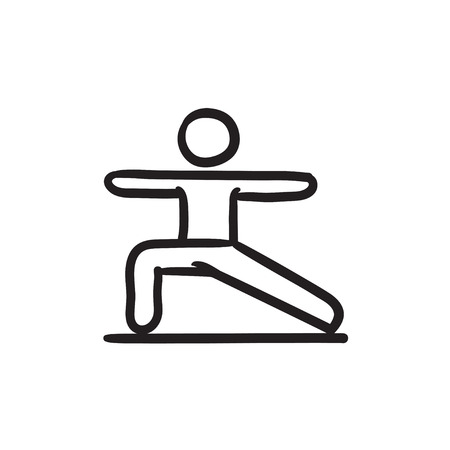 Man in the virabhadrasana II pose vector sketch icon isolated on background. Hand drawn Man in virabhadrasana II pose icon. Man in virabhadrasana II pose sketch icon for infographic, website or app.