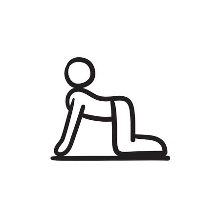 A man practicing yoga cow pose vector sketch icon isolated on background. Hand drawn man in yoga cow pose icon. Man in yoga cow pose sketch icon for infographic, website or app.