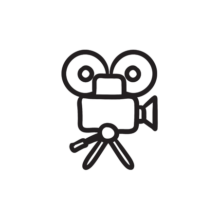 Video camera vector sketch icon isolated on background. Hand drawn Video camera icon. Video camera sketch icon for infographic, website or app.