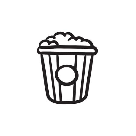 Icône de croquis de pop corn vecteur isolé sur fond. Icône de pop-corn dessiné à la main. Icône de croquis de maïs éclaté pour infographie, site Web ou application. Banque d'images - 84323645