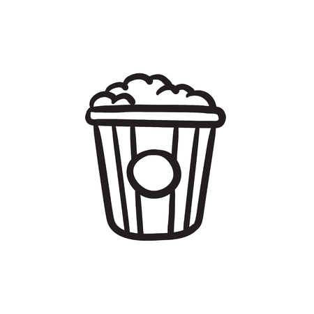 Popcorn vector sketch icon isolated on background. Hand drawn Popcorn icon. Popcorn sketch icon for infographic, website or app.