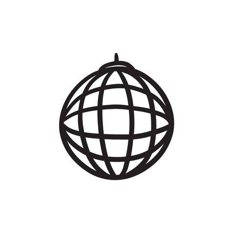 Disco-Kugel Vektor Skizze Symbol auf Hintergrund isoliert. Hand Disco-Kugel-Symbol gezogen. Disco Ball Skizze Symbol für Infografik, die Website oder App. Standard-Bild - 84323695