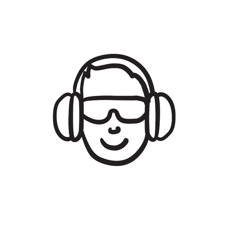 Man in headphones vector sketch icon isolated on background. Hand drawn Man in headphones icon. Man in headphones sketch icon for infographic, website or app. Çizim
