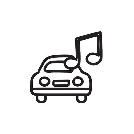 Car with music note vector sketch icon isolated on background. Hand drawn Car with music note icon. Car with music note sketch icon for infographic, website or app. Illustration