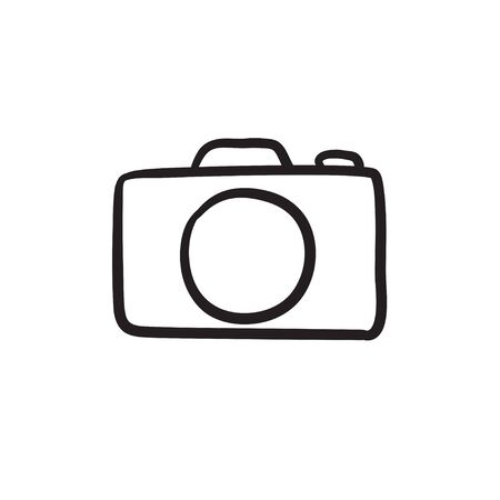 Camera vector sketch icon isolated on background. Hand drawn Camera icon. Camera sketch icon for infographic, website or app. Ilustração