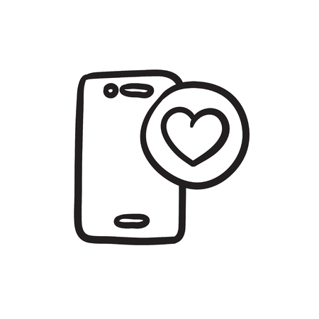 Smartphone with heart sign vector sketch icon isolated on background. Hand drawn Smartphone with heart sign icon. Smartphone with heart sign sketch icon for infographic, website or app.