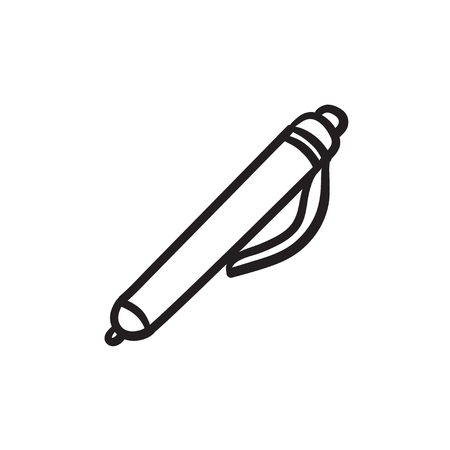 Pen vector sketch icon isolated on background. Hand drawn Pen icon. Pen sketch icon for infographic, website or app.