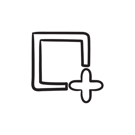 new addition: Add file vector sketch icon isolated on background. Hand drawn Add file icon. Add file sketch icon for infographic, website or app. Illustration
