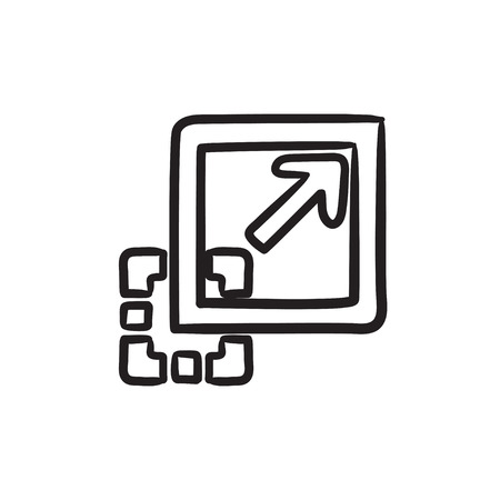 addition: Add content vector sketch icon isolated on background. Hand drawn Add content icon. Add content sketch icon for infographic, website or app.