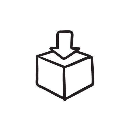 Mail box vector sketch icon isolated on background. Hand drawn Mail box icon. Mail box sketch icon for infographic, website or app. Illustration