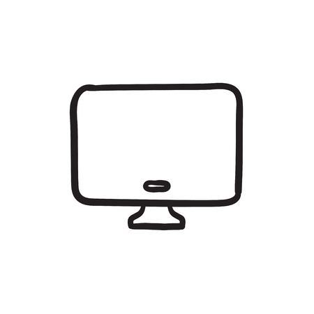 lcd display: Monitor vector sketch icon isolated on background. Hand drawn Monitor icon. Monitor sketch icon for infographic, website or app. Illustration