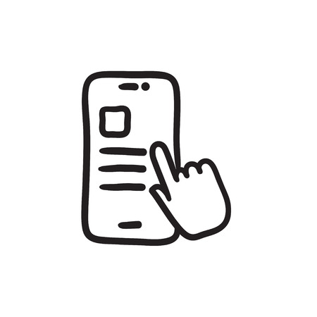 Finger touching smartphone vector sketch icon isolated on background. Hand drawn Finger touching smartphone icon. Finger touching smartphone sketch icon for infographic, website or app. Çizim
