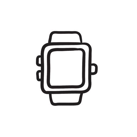 スマートウォッチ ベクター スケッチ アイコンを背景に分離します。手描きのスマートウォッチ アイコン。インフォ グラフィック、web サイトまた