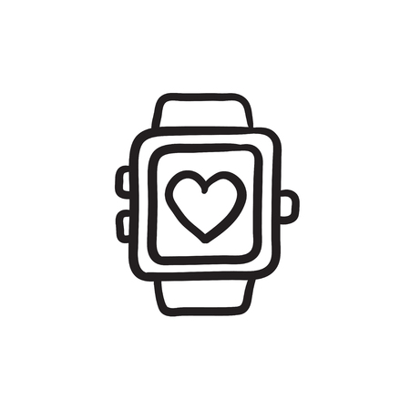 heart monitor: Smartwatch with heart sign vector sketch icon isolated on background. Hand drawn Smartwatch with heart sign icon. Smartwatch with heart sign sketch icon for infographic, website or app.