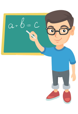 Happy caucasian schoolboy writing mathematical formula on the classroom blackboard. Smiling schoolboy writing on blackboard with chalk. Vector sketch cartoon illustration isolated on white background. Stock Illustratie