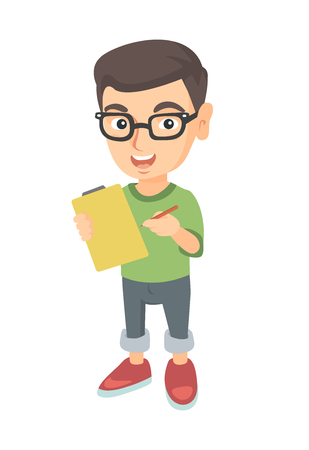Happy little caucasian boy in glasses writing on the paper attached to a clipboard. Laughing boy holding clipboard and pencil. Vector sketch cartoon illustration isolated on white background. Illustration