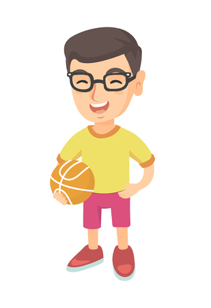 Caucasian cheerful schoolboy laughing and holding a basketball ball. Happy smiling little schoolboy in glasses with a basketball ball. Vector sketch cartoon illustration isolated on white background. Illustration