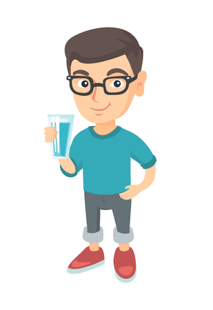 Little caucasian boy holding a glass of water in his hand. Smiling boy in glasses with water in a glass. Boy drinking water. Vector sketch cartoon illustration isolated on white background. Çizim