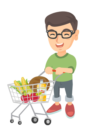 Little caucasian boy with his shopping trolley filled with groceries. Cheerful boy pushing a shopping trolley with some products in it. Vector sketch cartoon illustration isolated on white background.