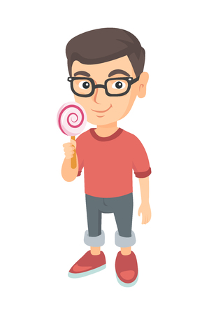 Little caucasian boy in glasses holding a lollipop candy. Full length of young boy eating a lollipop candy. Vector sketch cartoon illustration isolated on white background. Illustration