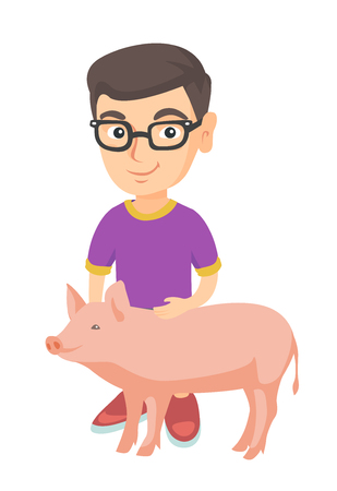 Smiling caucasian farmer boy in glasses stroking a pig. Little farmer boy with a pig. Young farmer boy standing near pig. Vector sketch cartoon illustration isolated on white background.