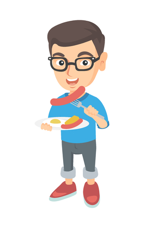 Little caucasian boy eating sausage and fried egg for breakfast. Young smiling boy holding fork and plate with sausage and fried egg. Vector sketch cartoon illustration isolated on white background.