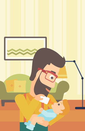 A hipster man with the beard feeding a little baby with a milk bottle on the background of living room vector flat design illustration. Vertical layout.