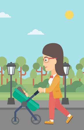 A young mother walking with baby stroller in the park vector flat design illustration. Vertical layout.