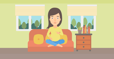 A pregnant woman sitting on a sofa in living room vector flat design illustration. Horizontal layout.