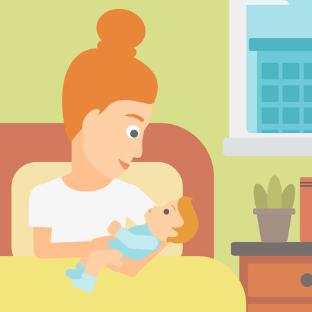 A woman lying in bed with a newborn baby in a maternity ward vector flat design illustration. Square layout.
